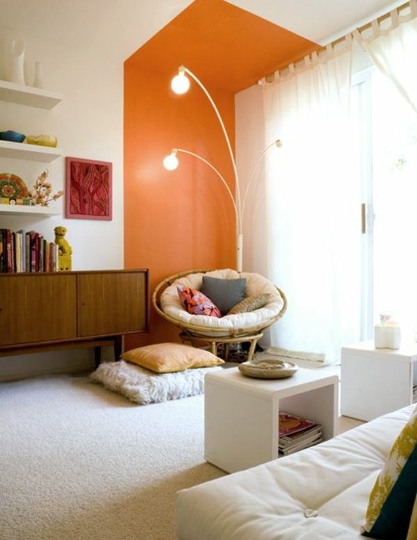 Comfortable Seating In The Living Room In Front Of Orange Wall Paint Walls    Paint Ideas For Orange Wall Design