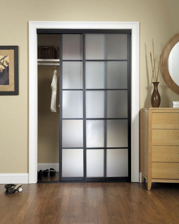 Lovable Interior Bedroom Glass Doors medium size of bedroominterior modern bedroom with bed plus grey white pattern rug on Antique Solid Wood Closet Tower Pleasing Wood Bypass Sliding Closet Doors