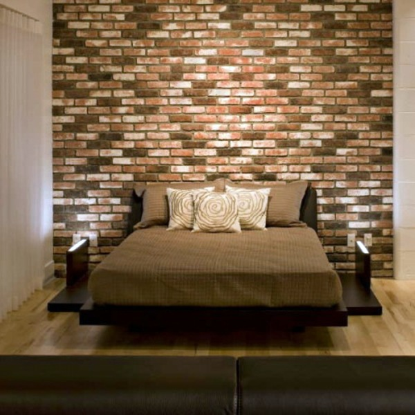 how to decorate a brick wall.  How you could decorate a brick wall behind your bed 31 ideas