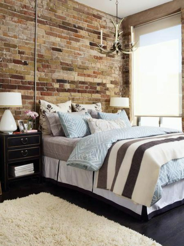 How you could decorate a brick wall behind your bed 31 ideas ...