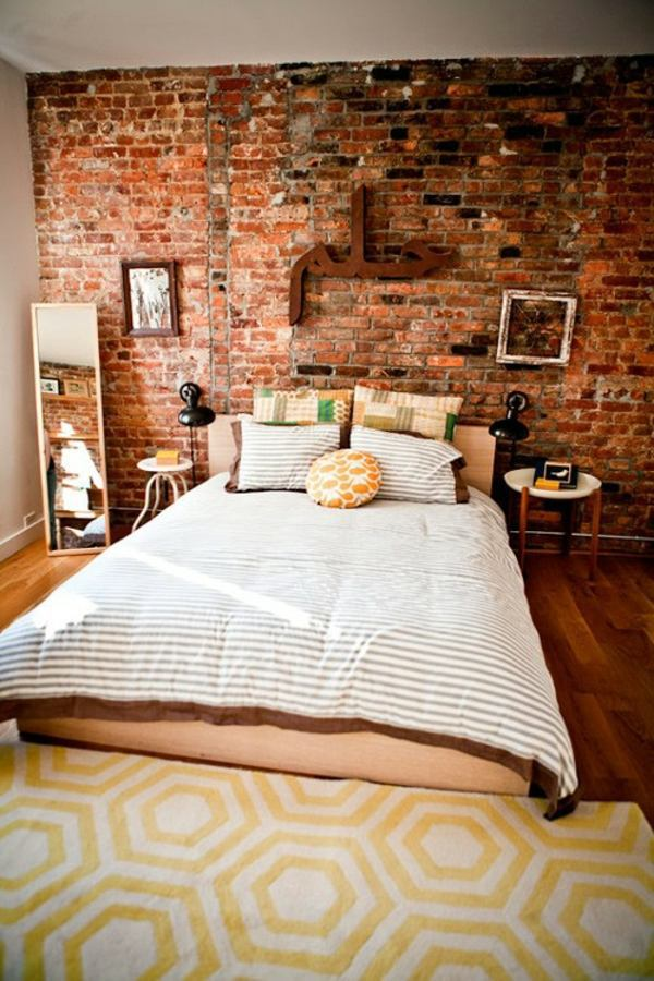 ... How You Could Decorate A Brick Wall Behind Your Bed 31 Ideas