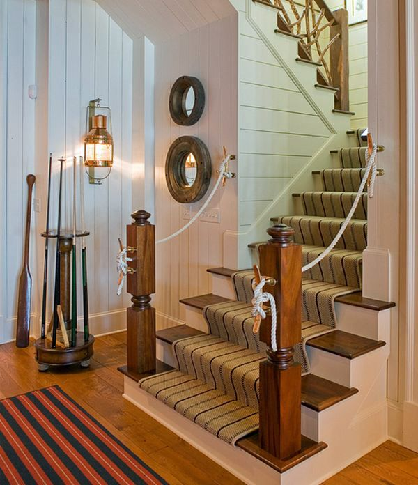 37 nautical decoration ideas from steering wheels up to for Nautical interior design ideas