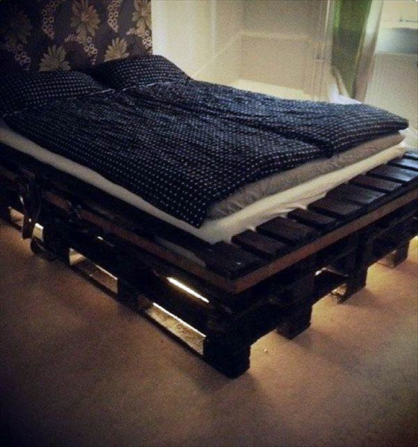 with led lights bed europaletten build bed frames themselves diy bed frame from euro pallets