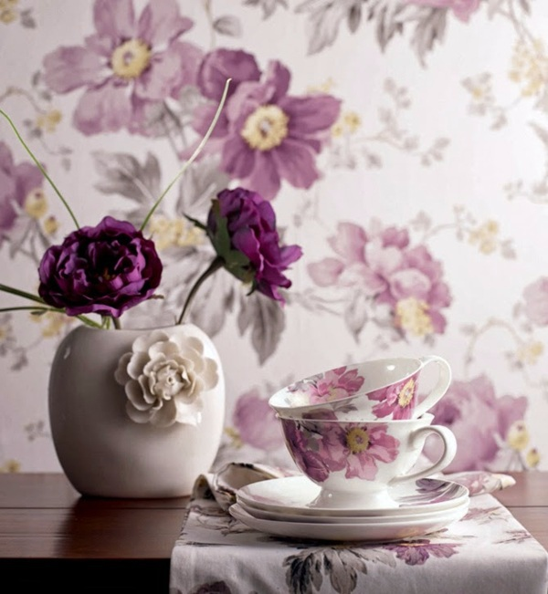 Wallpaper and fabrics with floral pattern for decoration in interior