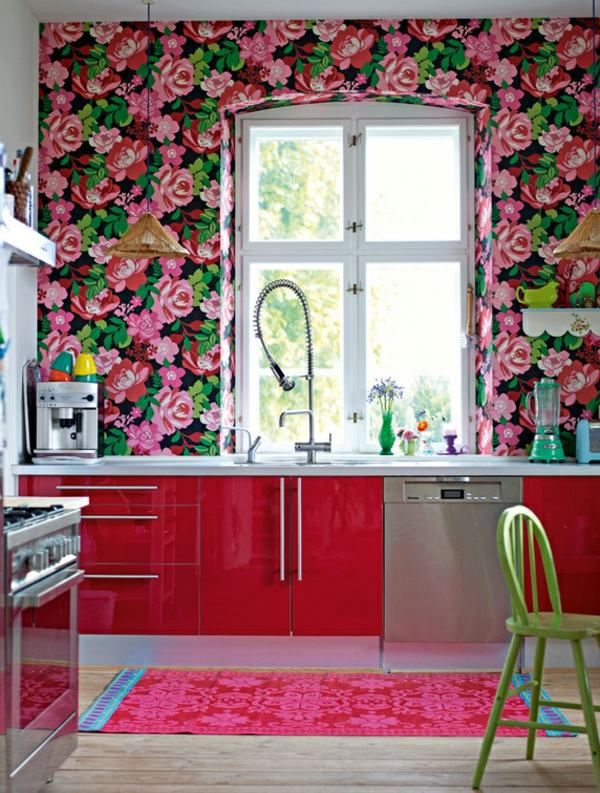 Wallpaper and fabrics with floral pattern for decoration for Interior decoration wallpaper design