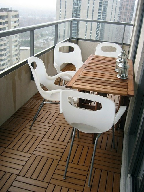 Wood tiling wooden floor on the balcony interior for Apartment balcony floor covering