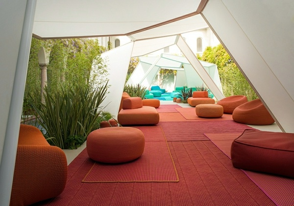 unusual garden furniture orange and red tones lounge garden furniture set by paola lenti unusual