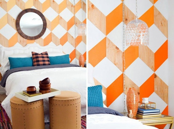 Orange Geometric Shapes Bedroom Design   Cool DIY Headboards For You