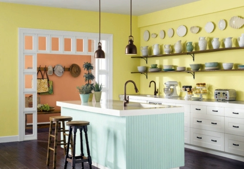 Vintage Arrangement And Decorative Wall Plate Bright Yellow Kitchens    Bring The Sun Into Your Home!
