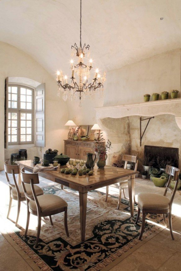 elegant decor in the dining room with rustic furniture