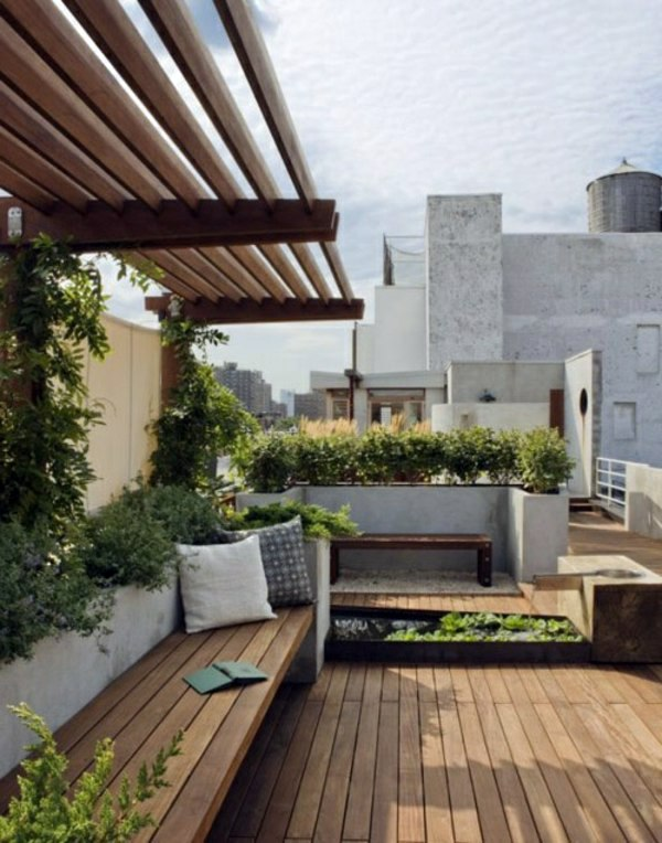 set of wooden garden furniture covered terrace 50 ideas for patio roof of modern houses - Patio Roof Ideas