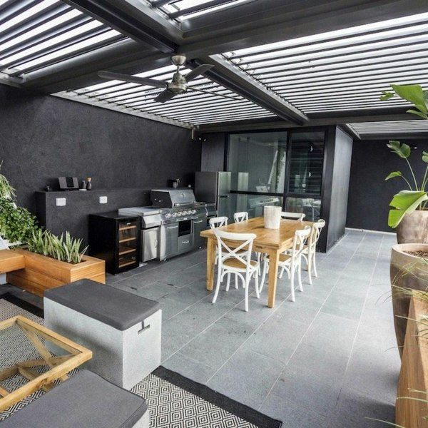 Covered terrace 50 ideas for patio roof of modern houses for Terrace kitchen ideas