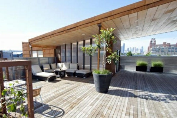 Rooftop   Minimalist Urban Covered Terrace   50 Ideas For Patio Roof Of  Modern Houses