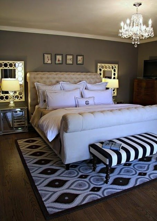 Bed Bench With Striped Upholstery 20 Cool Bedroom Ideas   The Bedroom Set  Completely Chic
