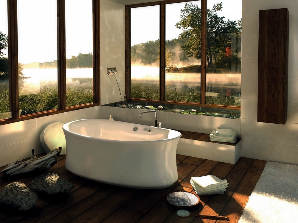 Bathtubs with views of nature
