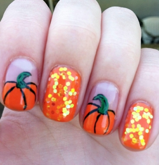 Halloween pumpkins Nail Polish Ideas for Halloween - 40 inspiring nail  design pictures - Nail Polish Ideas For Halloween – 40 Inspiring Nail Design