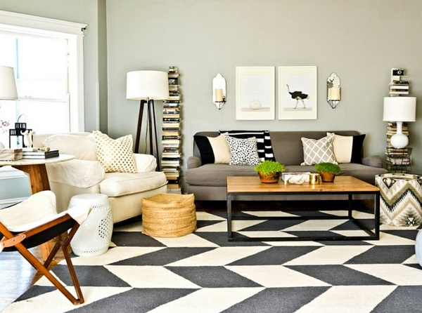 Smart application of Chevron patterns in the living room | Interior ...