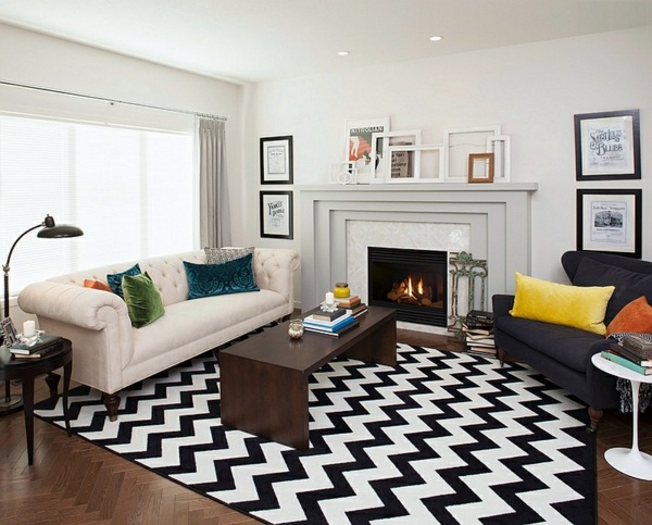 Carpets with herringbone pattern Smart application of Chevron patterns in  the living room. Smart application of Chevron patterns in the living room