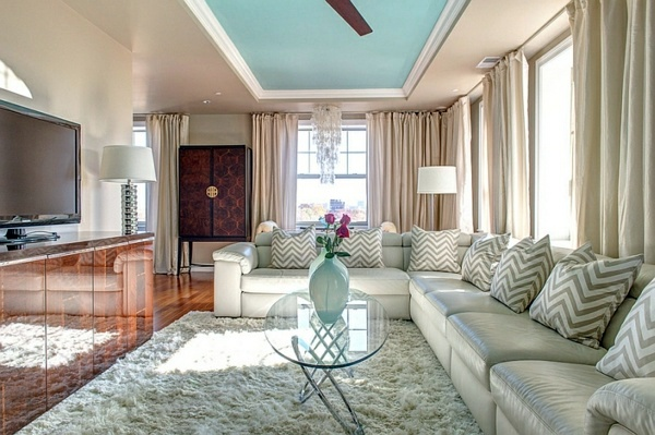 Smart application of Chevron patterns in the living room   Interior ...