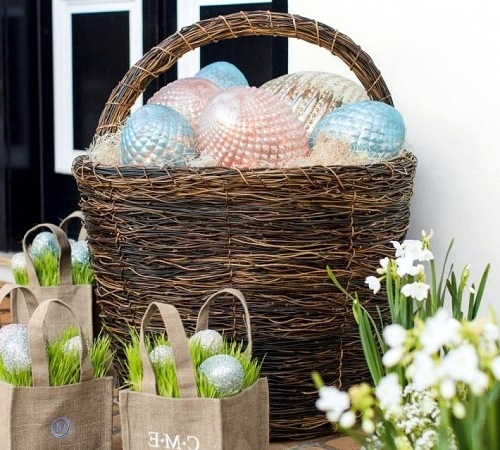 Send diy ideas on how to craft a festive easter basket interior cleverly woven with glass eggs send diy ideas on how to craft a festive easter basket negle Images
