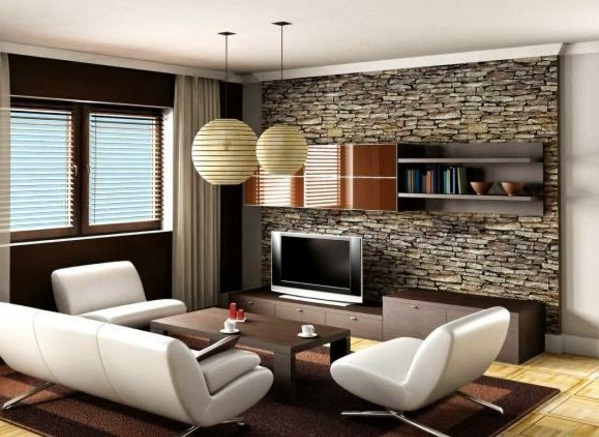 Merveilleux Virtual Representation Of The Living Room With A Stone Wall Covering Cheap Wall  Covering With Artificial Stone