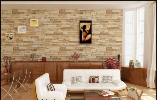 Charmant Large Living Room With White Furniture Cheap Wall Covering With Artificial  Stone