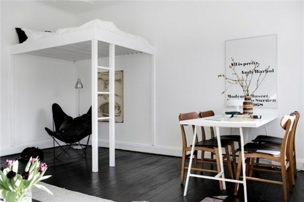 ... Bunk Beds And Dining Table In White Studio Apartment Set Up   You  Operate Clever With Your Space Part 59