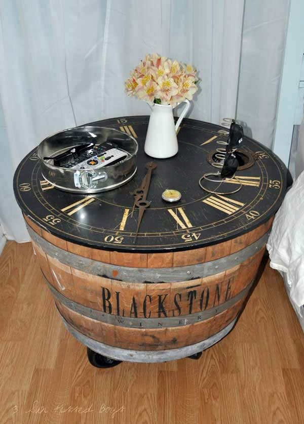 Wine Barrel Bar Table And Many Other DIY Furniture That Can Be Transferred Into An Old