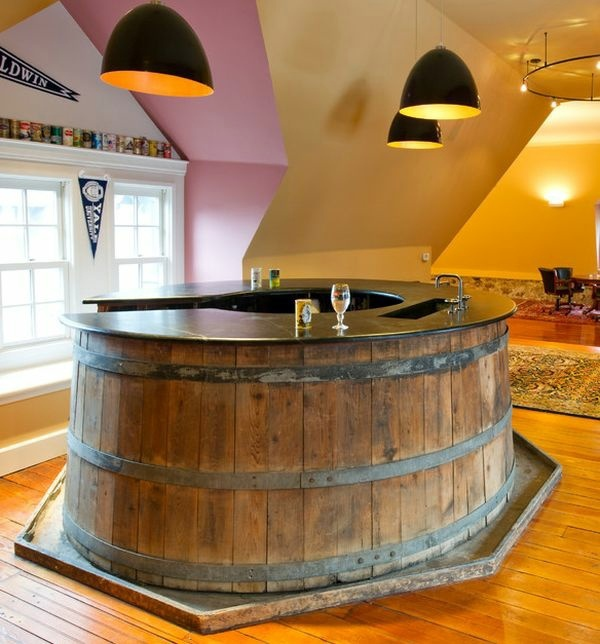 Low Basement Bar Ideas: Wine Barrel Bar Table And Many Other DIY Furniture That