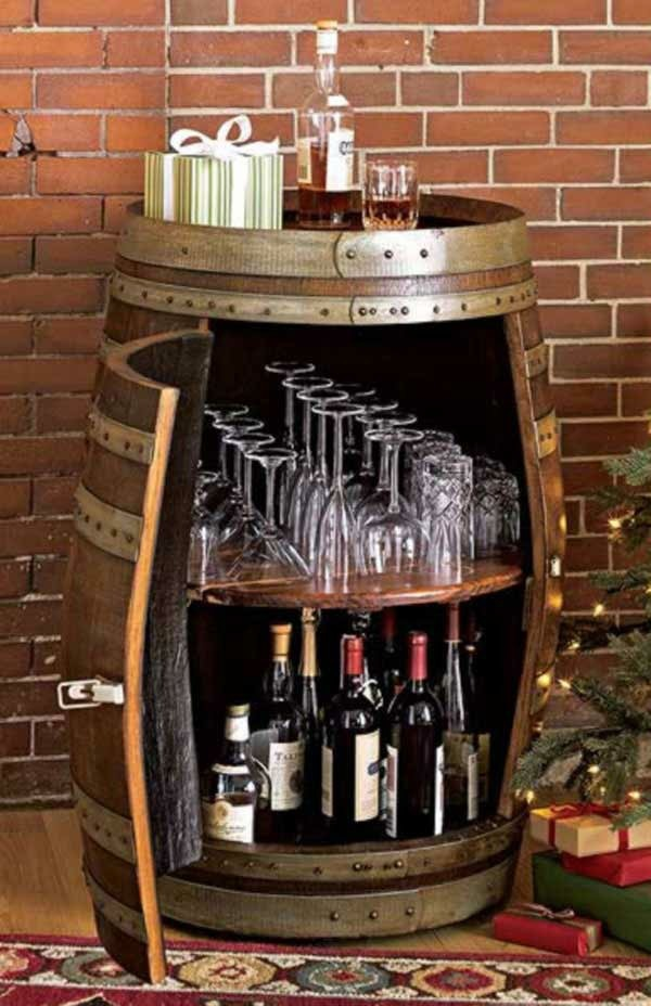 Wine Barrel Bar Table And Many Other Diy Furniture That Can Be Transferred Into An Old Barrel Itself on garden shed wine cellar