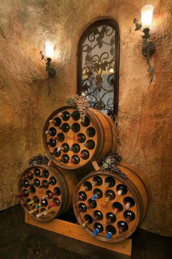 Wine barrel bar table and wine storage in a wall shelf for two glasses