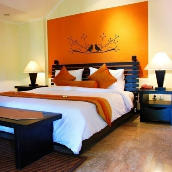 orange wallpaper with bird motif color ideas bedroom influential colors and decoration - Bedroom Ideas Color