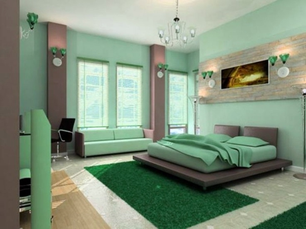 Different shades of green Color Ideas Bedroom - influential colors and  decoration