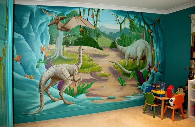 Nursery wall decal liven up the room with dinosaur for Dinosaur mural ideas