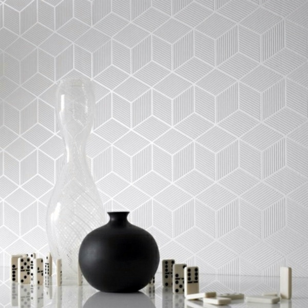 Modern Monochrome Wallpaper With 3D Effect Form And