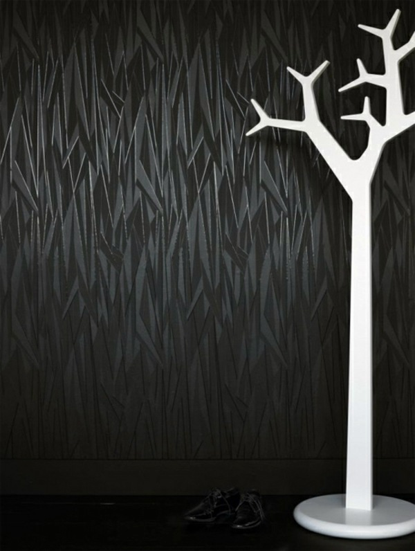 Modern monochrome wallpaper with 3D effect - Form and Design by Graham ...