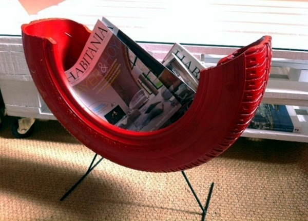 Great diy projects make interesting furniture from car tires fancy magazine rack great diy projects make interesting furniture from car tires solutioingenieria Choice Image
