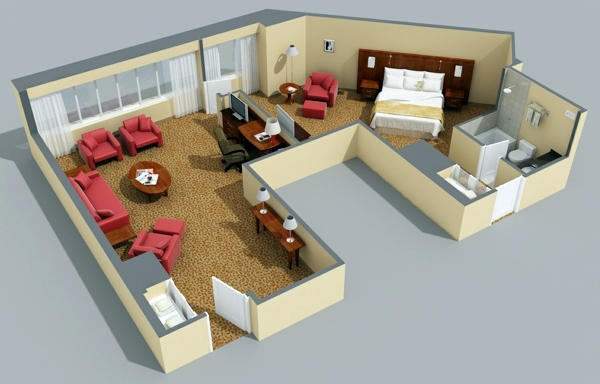 Room Planner Free 3d Room Planner on 3d One Bedroom Apartment Floor Plans