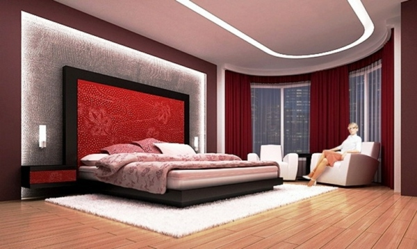 Headboard Oversized Red Bedroom Design And Wall Colors   Charm And Luxury  In The Bedroom