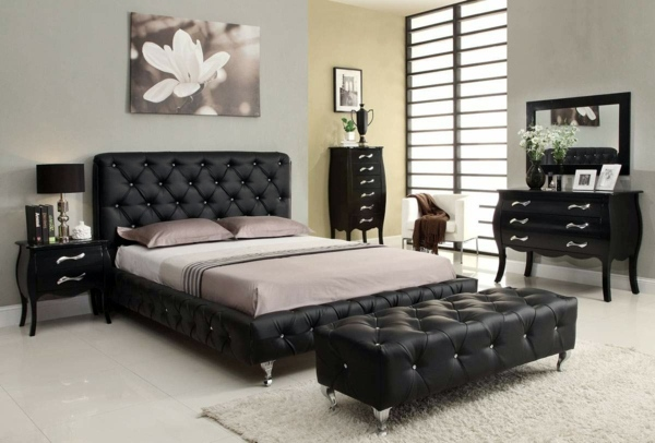Leather Frame And Headboard Bedroom Design And Wall Colors   Charm And  Luxury In The Bedroom