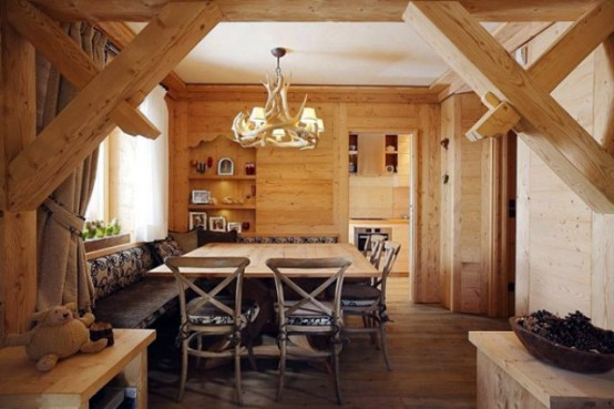 Wooden Interior Design - Elegant apartment in the rustic real wood