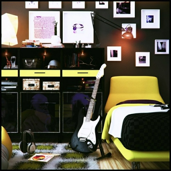 Yellow On Black 81 Youth Room Ideas And Pictures For Your Home