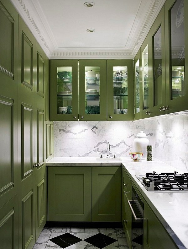 Refreshing green 45 Super Popular colors for kitchen cabinets