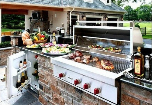 Outdoor kitchen with BBQ Interior Design Ideas