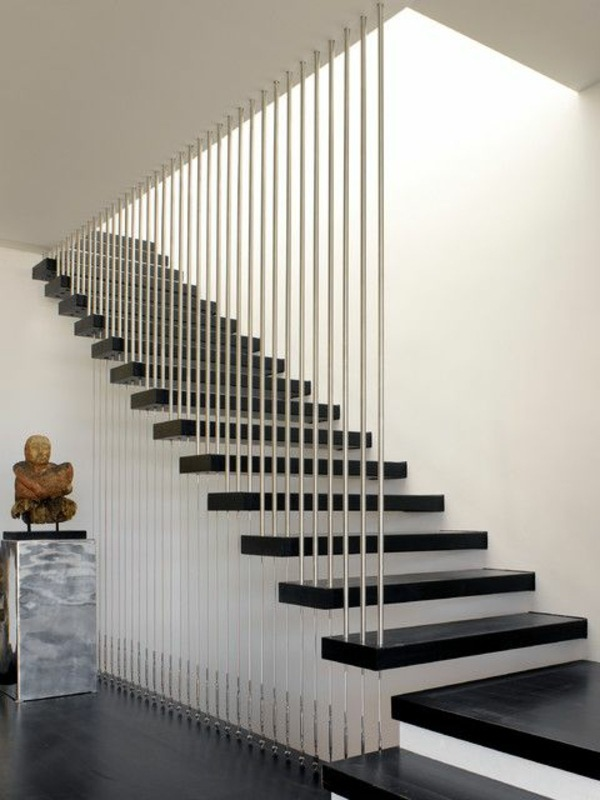 Floating staircase in contrasting colors A modern staircase can completely  transform your home