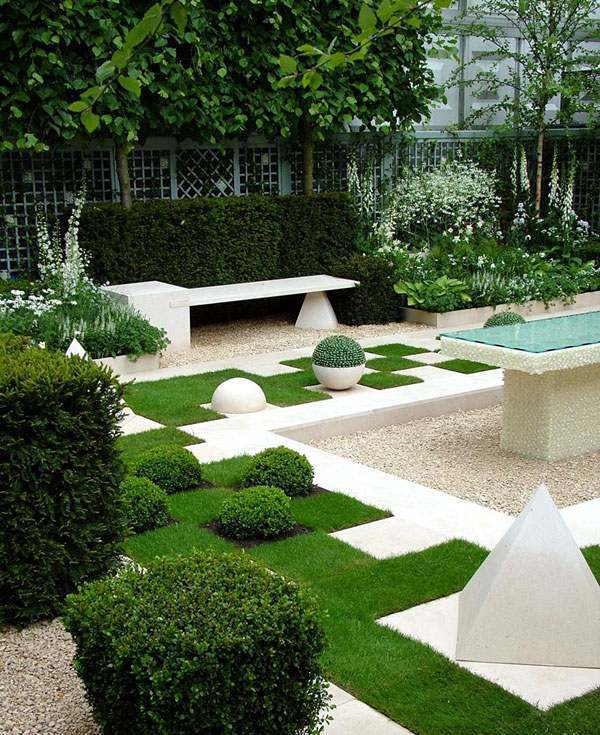 White Elements In Garden Design Landscaping  Beautiful Garden Ideas Paradise On Earth