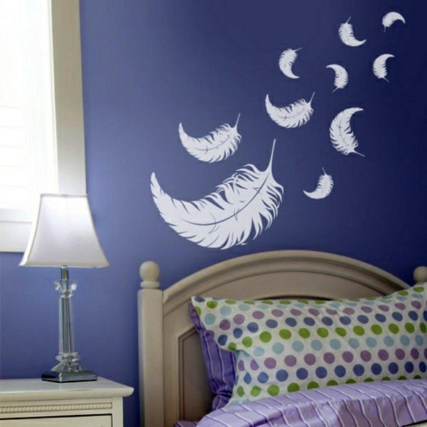 Purple Bedroom Wall Ideas Part - 30: Romantic And Left Bedroom Wall Design - Creative Decorating Ideas