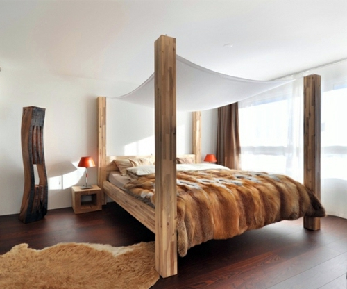 50 cool ideas for canopy beds made of wood in the bedroom for Camas rusticas