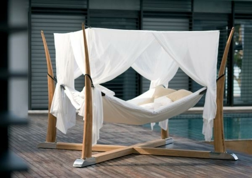 Comfortable hammock in a modern style 50 cool ideas for canopy beds made of wood in the bedroom & 50 cool ideas for canopy beds made of wood in the bedroom ...
