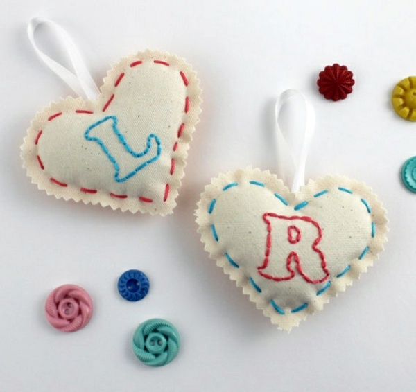Fabric heart sew by you - cool DIY ideas